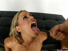 Big breasted wanton blondie Kylie Worthy drinks cum after solid deep throat