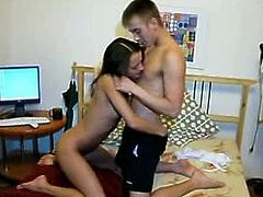 Young perverted couple enjoys dirty oral sex in bedroom