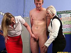 Femdom milf Sally Cream tugging her students cock with co worker Holly Kiss