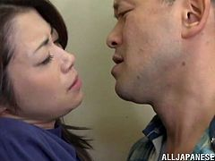 Seductive Japanese cowgirl with long hair giving handjob then groaning while getting hammered hardcore in public elevator