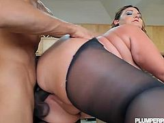 Kandi Kobain is your hot BBW babe with huge ass to boot. Here she is wearing black stockings while riding her partner's huge stiff dick pounding her juicy fat pussy big time.