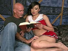 The cute Asian tranny is reading with her boyfriend when they start to get very horny. She lays flat on her chest so that he can lick her butt. She sits on his face, and they try out the 69 position. She loves to suck his cock while she is rimmed.