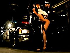 Sandy is in trouble and runs to the police for help. But instead Officer Bambi decides to thoroughly search her, while Bambi's partner gives Bambi some of his thick Nightstick to enjoy.