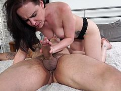 Watch out! Because Katie is starving and her hunger for sucking cock is unbelievable! The brunette slutty babe is completely naked and goes wild when her partner is around. This bitch is performing a incredible deep throat blowjob. Click to see the messy kinky details!