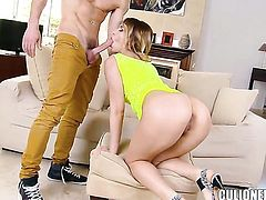 Aleska Diamond with juicy ass has some time to make ahrd cocked guy happy with her fuckable hands