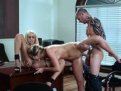 Beloved cowgirl with hot ass enjoying her pussy being licked and drilled hardcore in the office