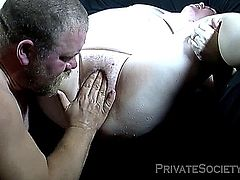 ugly fat amateur couple in a oral and masturbating play (squirting, facial).