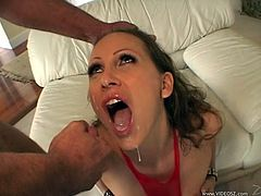Fascinating brunette giving multiple dicks blowjob before moaning while her anal is being gangbanged hardcore till she gets facial cumshot