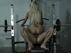 Palpitating blonde babe stimulated as she gets fingered then moans in ecstasy as she gets throbbed doggystyle at the gym before swallowing cumshot