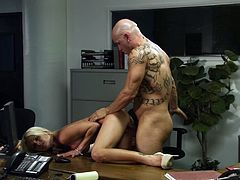This MILF wants the promotion so she fucks her boss in his office