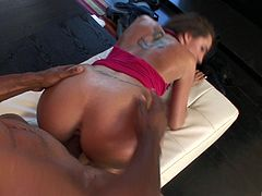 Kelly Divine gets her vag and ass slammed in interracial sex clip