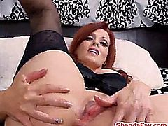 Sexy Shanda Fay stuffs her pretty panties into her pussy for starters and wind up with a cock in her nice ass and it gets filled with cum
