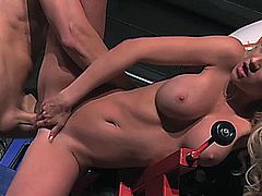 Hardcore sex on a motorcycle shop