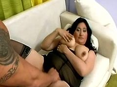 We have this hot plumper babe as and her man have it onto onto the couch. Watch as they start it off by cock-sucking and afterwards she has fucked hard as this yonker penetrates her hole