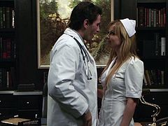 Blond nurse Kayden Kross gets fucked in the missionary pose