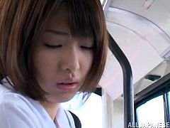 Gorgeous Asian babe in stunning uniform stimulated as her pussy gets fingered then gives a steamy blowjob before being drilled in a bus
