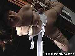 Delicious Japanese chick wearing a sexy nightgown gets tied up and suspended. Her kinky master tears her nightgown and ties a bottle of water to her nipples making her groan.