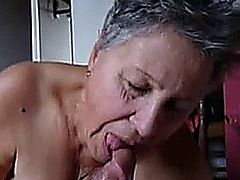Granny gives a head at home and gets cummed