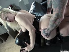 German Milf blonde gets dominated and fucked hard in her tight asshole.