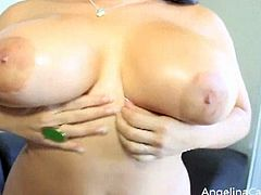 In this solo video, busty brunette Angelina Castro masturbating herself and showing her big tits. Now it is for you.