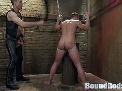Horny gay dressed in leather torturing a young horny gay guy in this hardcore gay bdsm video featuring Master Avery and Ethan Hudson