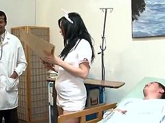 Awesome black haired Nurse has Gangbanged in A Hospital