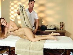 Bosomy Karlie Montana sucks masseuse's dick