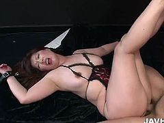 Japanese MILF got all her hands tied up and also her luscious body and titties and here she got fucked in various positions while using magic wand to stimulate her clitoris.