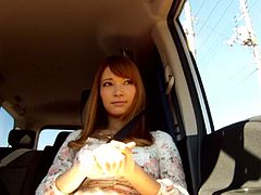 This kinky Japanese girl gets nude and is driven out into the middle of nowhere, in the remote part of Hokkaido. She gets out of the van, wearing just a trench coat and meets a guy on the side of the road. Watch, as she flashes him and sucks his cock.