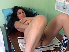This mature lady explains that her old doctor has to shave her pussy. He comes in the room and finds her naked. He uses a shaving machine and a razor blade.