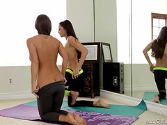These cute babes are doing their Yoga and soon, they make each other horny. Celeste rubs her lover's legs and butt, before climbing on top of her, and rubbing her back sensually. These lesbians know, how to stay fit and relax. They look hot in tight yoga pants, but they look even better naked.