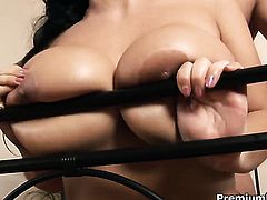 Laura Lion with juicy hooters has fire in her eyes as she takes money shot on her eager face
