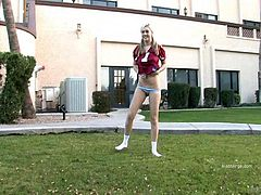 Blonde babe Alison Angel and her hot girlfriend play strip football