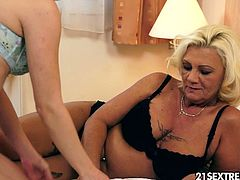 Nesty has a good taste when it comes to mature women. Her current lover, a sexy, cool grandma with a kinky tattoo really gives the younger girl everything she wishes for and then some. Not a big surprise that Nesty doesn't want to pass her over to any of her young girlfriends.