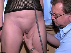 Treesome chubby mature, sexy girl and guy fucking