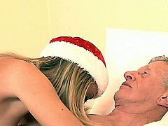 Teeny slut is craving for a piece of old dick for Christmas! So when she meet the old dick is getting crazy to suck and to lick the balls, to squeeze the old bone until the cum is filling her horny mouth!