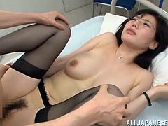 Epic Asian nurse in miniskirt and nylon stockings getting her hairy pussy hammered hardcore