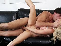 Gorgeous blonde pornstar giving a steamy blowjob then gets aroused as her pussy gets licked before being drilled hardcore till getting a facial