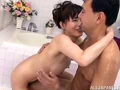 His relaxes and she takes care of him. This mature hot Japanese lady washes his body and pays attention to every detail. She slides her boobs all over him and grabs his cock. she gives really good handjob and blowjob.
