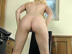 Brook Logan with small breasts and bald muff fingers her fuck hole