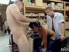British babe Franki is nervous about her date tonight, asking her two managers to help calm her down, they stuff their hard cocks into all her holes in this hardcore double penetration scene. This eager worker ticks all the boxes