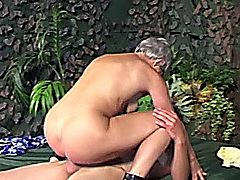 Outdoor granny slut gets fucked hard by cock