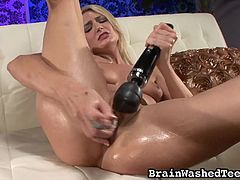 This nasty girl is going wild with sex toys on her wet pussy. She is so horny, that she uses two sex toys at once, to help her get off faster. She is in need of hot cock, so she gets on her knees and gives me a blowjob. She is such a naughty bitch for me.