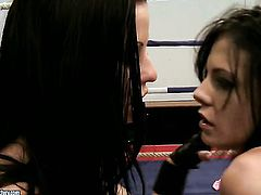 Blonde Nikky Thorne with giant knockers is in heaven doing it with hot lesbian Blue Angel