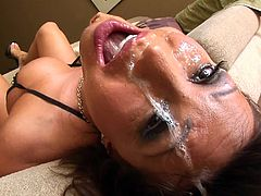 MILF mouth banged in interracial face fucking before facial cumshot