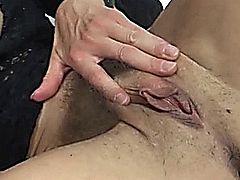 Beauty hairy milf in stockings Federica Tommasi fucks and sucks with boy