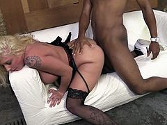 Black horny freak ass fucks dumpy blond hoe Leya Falcon from behind hard