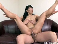 Ruriko climbs on top of her man and fucks him really hard. She rides him so fast, until he blows a hot load of sticky cum deep into her vagina. This makes her feel so good. She pushes the cum out of her snatch. Watch the creampie ooze.