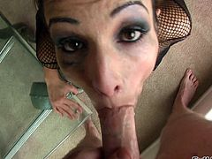 Milf in fishnet deepthroats BBC and takes facial cumload
