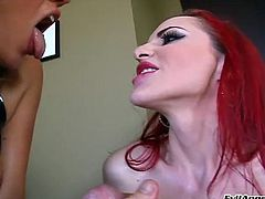 Pornstars in leather cum swapping after BJ and titjob in FFM threesome